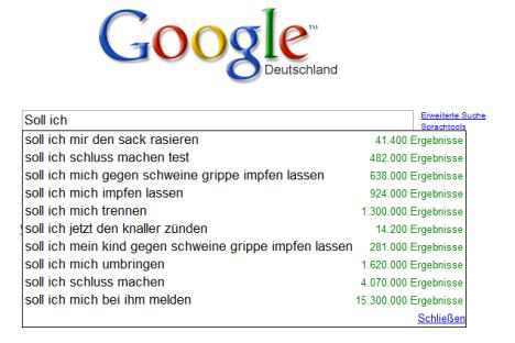 Kuriose Google-Empfehlungen
